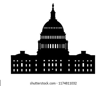 United States Capitol Hill building in Washington DC. Vector silhouette.