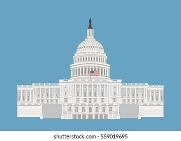 United States Capitol Hill building in Washington DC, with US flag flat vector illustration. Isolated on blue background.