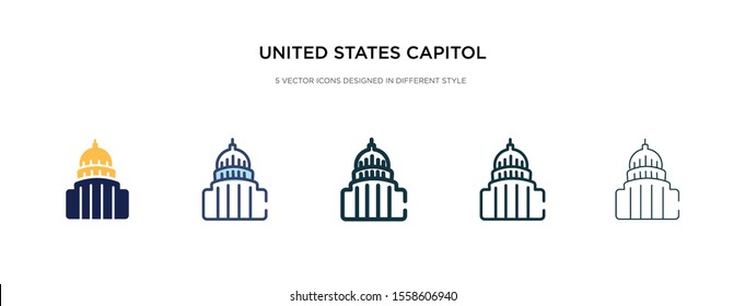 united states capitol icon in different style vector illustration. two colored and black united states capitol vector icons designed in filled, outline, line and stroke style can be used for web,