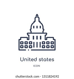 united states capitol icon from monuments outline collection. Thin line united states capitol icon isolated on white background.