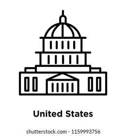 United States Capitol icon vector isolated on white background, United States Capitol transparent sign , line or linear sign, element design in outline style