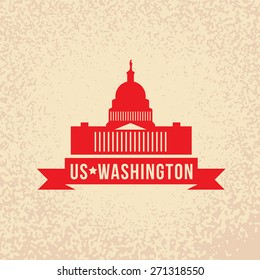 United States Capitol - The symbol of US, Washington DC. Vintage stamp with red ribbon