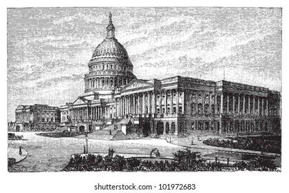 United States Capitol in Washington DC / vintage illustration from Brockhaus Konversations-Lexikon 1908