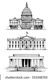 United States Capitol, White House, Lincoln Memorial in Washington DC, USA landmarks and tourist popular places, vector illustration isolated on white background