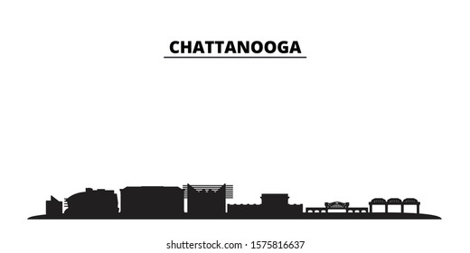 United States, Chattanooga city skyline isolated vector illustration. United States, Chattanooga travel black cityscape