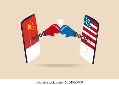United States and China technology war, 2 countries compete to be leader of tech company, cold war sanctions and tariff concept, digital mobile phone with US and China flag fighting with boxing gloves