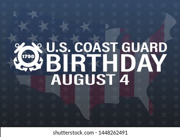 United States Coast Guard birthday. August 4. Design with american flag and patriotic stars. Poster, card, banner, background design. EPS 10.