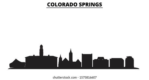 United States, Colorado Springs City city skyline isolated vector illustration. United States, Colorado Springs City travel black cityscape
