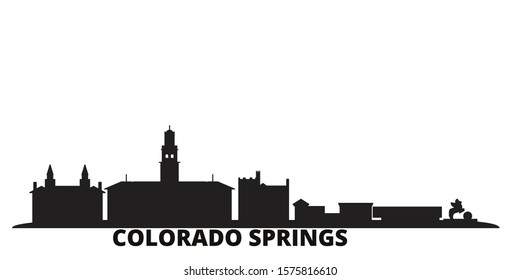 United States, Colorado Springs city skyline isolated vector illustration. United States, Colorado Springs travel black cityscape