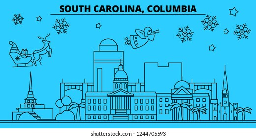 United States, Columbia winter holidays skyline. Merry Christmas, Happy New Year decorated banner with Santa Claus.United States, Columbia linear christmas city vector flat illustration