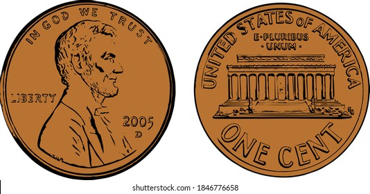 United States copper penny illustration both sides, front and back two color. Illustrator eps vector graphic design.