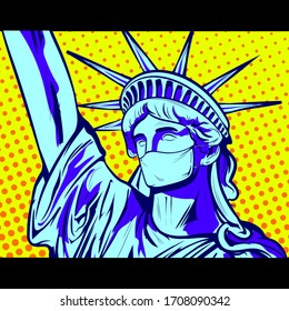 United States Coronavirus Pandemic. Statue of Liberty with Protective Medical Mask. Pop Art retro comic book cartoon drawing vector illustration vintage
