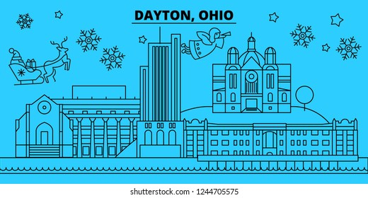 United States, Dayton winter holidays skyline. Merry Christmas, Happy New Year decorated banner with Santa Claus.United States, Dayton linear christmas city vector flat illustration