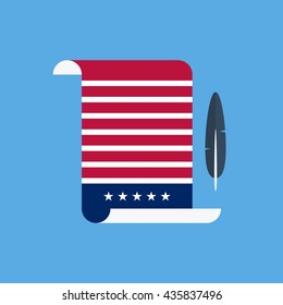 United States Declaration of Independence flat style design vector illustration.
