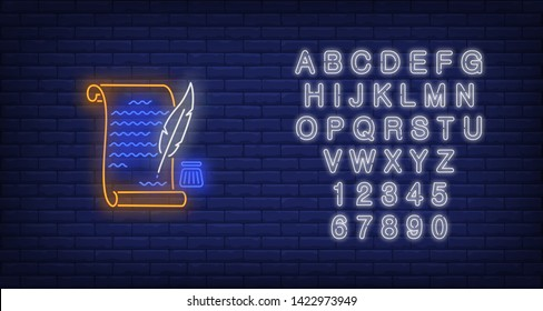 United States Declaration of Independence neon sign. USA symbol, history design. Night bright neon sign, colorful billboard, light banner. Vector illustration in neon style.