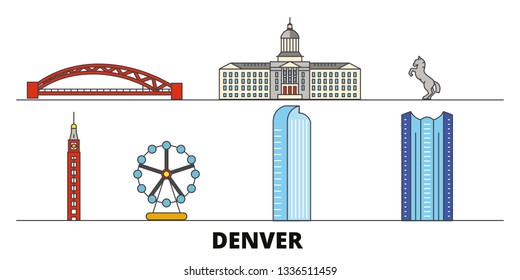 United States, Denver flat landmarks vector illustration. United States, Denver line city with famous travel sights, skyline, design.