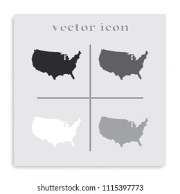 United States detailed map flat black and white vector icon.