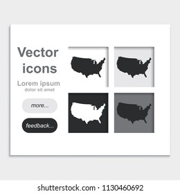 United States detailed map placed on web page template flat vector icon.