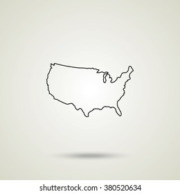 United States detailed map thin line illustration. Outline USA map vector icon.