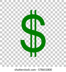 United states Dollar sign. Dark green icon on transparent background.