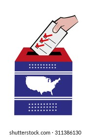 United States Election Concept. Map Printed on Ballot Box. Editable Clip Art.