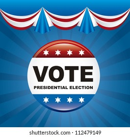 united states election vote over blue background. vector illustration
