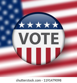 United States elections. US midterm elections 2018: the race for Congress. Symbol of republican government. Decision of voter. Democracy campaign. Vote Republican Midterms. Election Pin Button, Badge.