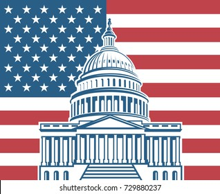 United States flag with Capitol building in Washington DC