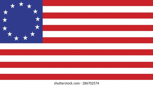 United States flag displaying thirteen stars for the original colonies. Vector format.