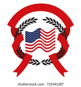 united states flag inside of circle of black olive branches and red ribbon interlace vector illustration