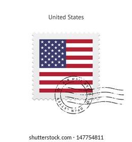United States Flag Postage Stamp on white background. Vector illustration.