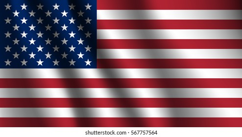 United States Flag. Stars and Stripes Flag background; rippling red white and blue silken American, United states flag blowing in the wind. Classic American, Classic USA flag.