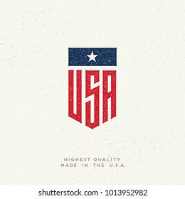 United states flag. USA logo. Ink stamp designs. Vintage textured sign. Made in the USA.