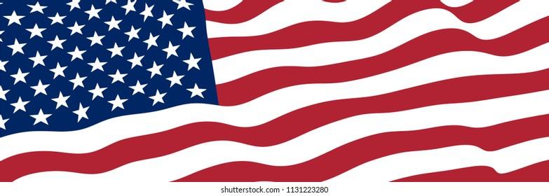 United States Flag Vector Close Up Illustration.