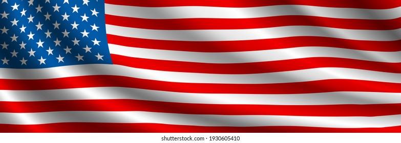 United States Flag Vector Closeup Illustration