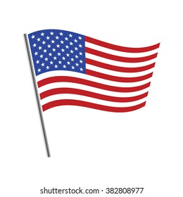 United States flag waving vector illustration