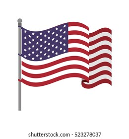 United States flag with waving wind