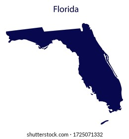 United States Florida. Dark blue silhouette of the state