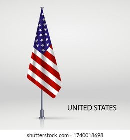 United States hanging flag on flagpole
