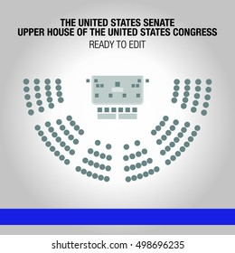 United States House of Representatives. Lower house of the United States Congress. Editable circle seats.