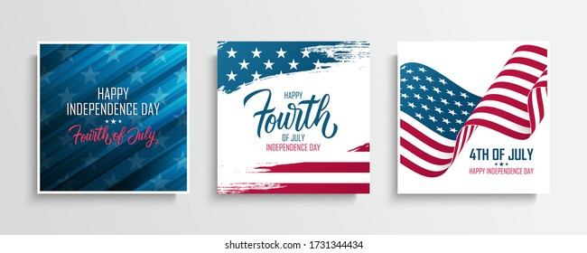 United States Independence Day greeting cards set with the american national flag. Fourth of July. USA national holiday vector illustration.