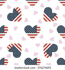 United States independence day seamless pattern. Patriotic country flag background. United States flag in the shape of heart. Vector seamless pattern.