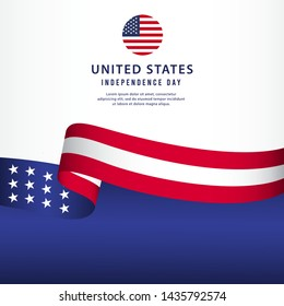 United states independence day vector template. Design for banner, advertising, greeting cards or print. Design happiness celebration.