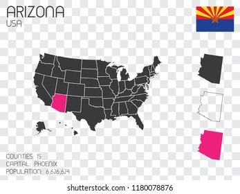 United States Infographic with information for the State of Arizona