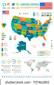 United States infographic map and flag - vector illustration