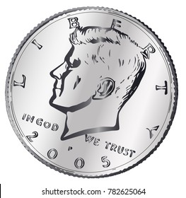 A United States JFK head half dollar coin isolated on a white background