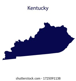 United States Kentucky. Dark blue silhouette of the state