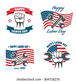 United States Labor Day national holiday vector logos, badges, emblems and labels set. Celebration for worker, wrench and hammer. Vector illustration