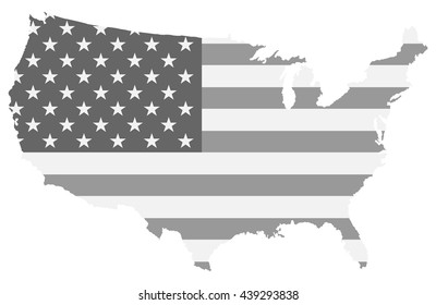 United states map black and white color of us flag inside