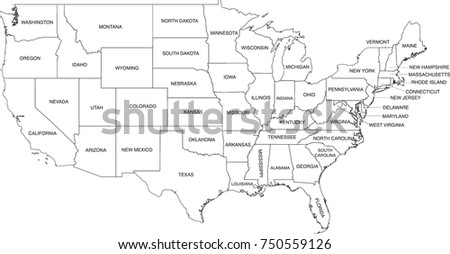 United States Map Coloring Book Outlines Stock Vector (Royalty Free ...